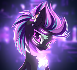 Size: 3333x3016 | Tagged: safe, artist:airiniblock, oc, oc:neon sunrise, pony, :3, bust, chest fluff, commission, female, looking at you, pale belly, portrait, rcf community, solo