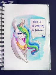 Size: 3120x4160 | Tagged: safe, artist:brownie97, edit, princess celestia, alicorn, pony, female, looking at you, mare, marker drawing, raspberry, solo, there is no wrong way to fantasize, tongue out, traditional art