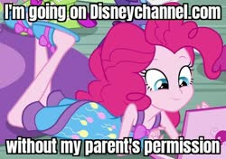 Size: 527x372 | Tagged: safe, edit, edited screencap, screencap, pinkie pie, equestria girls, rainbow rocks, caption, clothes, computer, cropped, disney channel, image macro, laptop computer, outfit catalog, pajamas, pure unfiltered evil, sleeveless, slippers, solo, text