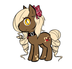 Size: 516x498 | Tagged: safe, artist:ad-opt, oc, oc only, earth pony, pony, bow, collar, earth pony oc, hair bow, simple background, smiling, transparent background