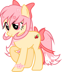 Size: 400x468 | Tagged: safe, artist:ad-opt, oc, oc only, oc:sakura blossom, earth pony, pony, bow, earth pony oc, eyelashes, female, flower, flower in hair, hair bow, mare, raised hoof, simple background, solo, tail bow, transparent background