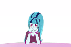 Size: 3000x2000 | Tagged: safe, artist:albertbm, sonata dusk, equestria girls, blushing, cute, doodle, female, looking at you, smiling, sonatabetes, spiked wristband, weapons-grade cute, wristband