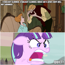 Size: 1000x1000 | Tagged: safe, edit, edited screencap, editor:thor-disciple, screencap, starlight glimmer, pony, unicorn, the cutie map, 101 dalmatians, anita radcliffe, caption, image macro, quiet, ragelight glimmer, roger radcliffe, singing, song, song parody, text, yelling