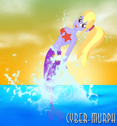 Size: 1716x1842 | Tagged: safe, artist:cyber-murph, cloud kicker, cloudy kicks, mermaid, starfish, equestria girls, background human, belly, belly button, breach, cute, mermaidized, midriff, ponytail, signature, species swap, splash, splashing, starfish bra