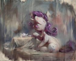 Size: 1200x960 | Tagged: safe, artist:assasinmonkey, rarity, pony, unicorn, cutie mark, eyes closed, female, horn, mare, sitting, solo, tea set, teapot