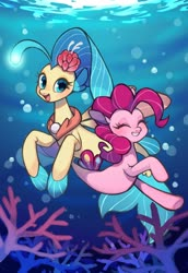 Size: 1470x2140 | Tagged: safe, artist:ikirunosindo, pinkie pie, princess skystar, seapony (g4), my little pony: the movie, bubble, coral, cute, diapinkes, duo, eyelashes, female, fins, fish tail, flower, flower in hair, looking at you, open mouth, seaponified, seapony pinkie pie, skyabetes, smiling, species swap, swimming, underwater, water