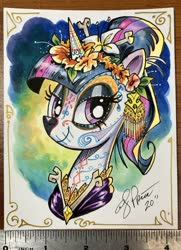 Size: 1482x2048   Tagged: safe, artist:andypriceart, twilight sparkle, alicorn, pony, dia de los muertos, flower, flower in hair, lidded eyes, photo, ruler, solo, traditional art, tribute, twilight sparkle (alicorn)