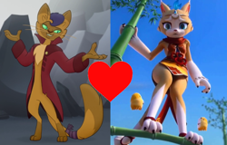 Size: 1022x654 | Tagged: safe, edit, edited screencap, screencap, capper dapperpaws, anthro, cat, my little pony: the movie, crossover, crossover shipping, female, male, shipping, shipping domino, straight, the great warrior wall, xiyue