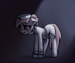 Size: 1338x1115 | Tagged: safe, artist:freeedon, nurse redheart, earth pony, pony, coronavirus, covid-19, crying, damn corona, face mask, female, floppy ears, looking down, mare, mask, n95, ppe, sad, solo, standing, teary eyes, three quarter view, tired