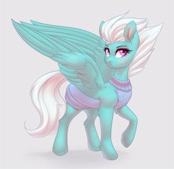 Size: 2137x2080 | Tagged: safe, artist:nightskrill, fleetfoot, pegasus, pony, backless, clothes, cute, diafleetes, ear fluff, female, gray background, high res, leg fluff, looking at you, mare, open-back sweater, raised hoof, simple background, sleeveless sweater, solo, spread wings, stupid sexy fleetfoot, sweater, tsp bait, virgin killer sweater, wings