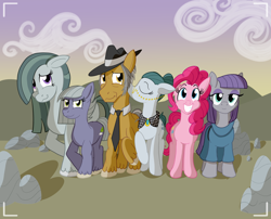 Size: 3120x2516 | Tagged: safe, artist:sixes&sevens, cloudy quartz, igneous rock pie, limestone pie, marble pie, maud pie, pinkie pie, earth pony, clothes, dress, floppy ears, glasses, hat, kiss on the cheek, kissing, looking at the camera, necktie, outdoors, pie family, pie sisters, rock, siblings, sisters, smiling