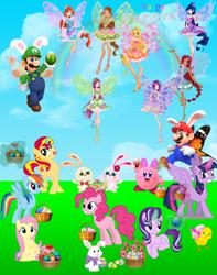 Size: 3204x4074 | Tagged: safe, artist:aimeelovesu, artist:amgiwolf, artist:andoanimalia, artist:decprincess, artist:famousmari5, artist:frownfactory, artist:magical-mama, artist:midnight-st4r, artist:slb94, artist:user15432, fluttershy, pinkie pie, rainbow dash, starlight glimmer, sunset shimmer, twilight sparkle, alicorn, earth pony, fairy, human, pegasus, pony, rabbit, unicorn, aisha, animal, barely pony related, basket, bloom, bloom (winx club), bunny ears, butterflix, butterfly wings, chick, crossover, easter, easter basket, easter bunny, easter egg, fairies, fairies are magic, fairy wings, female, flora, flora (winx club), flower, glowing horn, happy easter, holiday, horn, kirby, kirby (character), kirby pie, layla, luigi, luigidash, luigishy, luitwi, male, maridash, mario, mario & luigi, mariopie, marioshy, musa, nintendo, rainbow, rainbow s.r.l, roxy (winx club), stella, stella (winx club), straight, super mario bros., super smash bros., tecna, twilight sparkle (alicorn), wings, winx, winx club
