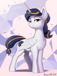 Size: 2052x2700 | Tagged: safe, artist:discordthege, oc, oc only, alicorn, pony, alicorn oc, female, hairband, horn, mare, ponytail, solo, two toned mane, wings