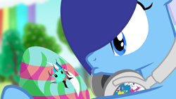Size: 1920x1080 | Tagged: safe, artist:bastbrushie, oc, oc only, oc:brushie brusha, oc:💚, earth pony, pony, cloud, cutie mark, easter, easter egg, egg, headphones, holiday, rainbow, sky, tree