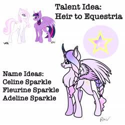 Size: 2048x2048   Tagged: safe, artist:rmv-art, fleur-de-lis, twilight sparkle, oc, oc:celine sparkle, alicorn, pony, unicorn, alicorn oc, horn, magical lesbian spawn, offspring, parent:fleur-de-lis, parent:twilight sparkle, shipping, twilight sparkle (alicorn), wings