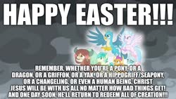 Size: 1920x1080 | Tagged: safe, edit, edited screencap, screencap, gallus, ocellus, sandbar, silverstream, smolder, yona, the ending of the end, caption, christianity, easter, excessive exclamation marks, happy easter, holiday, image macro, implied coronavirus, jesus christ, religion, student six, text