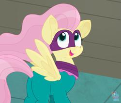 Size: 1591x1361 | Tagged: safe, artist:rainbow eevee, fluttershy, saddle rager, pegasus, pony, power ponies (episode), butt, cute, daaaaaaaaaaaw, female, looking at someone, looking at you, open mouth, plot, power ponies, scene interpretation, shyabetes, solo, spread wings, wings