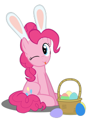 Size: 4134x5906 | Tagged: safe, artist:mrkat7214, pinkie pie, earth pony, pony, :p, absurd resolution, basket, bleb, bunny ears, cute, diapinkes, easter, easter egg, female, holiday, looking at you, mare, mlem, one eye closed, silly, simple background, sitting, solo, tongue out, transparent background, vector, wink, winking at you