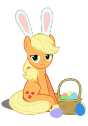 Size: 4134x5906 | Tagged: safe, artist:mrkat7214, applejack, earth pony, pony, absurd resolution, applebetes, basket, bunny ears, cute, easter, easter egg, egg, female, food, hatless, holiday, jackabetes, lidded eyes, looking at you, mare, missing accessory, simple background, sitting, solo, transparent background, vector