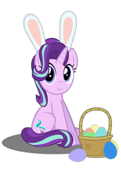 Size: 4134x5906 | Tagged: safe, artist:mrkat7214, starlight glimmer, pony, unicorn, absurd resolution, basket, bunny ears, cute, easter, easter egg, egg, female, glimmerbetes, holiday, simple background, sitting, solo, transparent background, vector