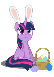 Size: 4134x5906 | Tagged: safe, artist:mrkat7214, twilight sparkle, alicorn, pony, absurd resolution, basket, bunny ears, cute, easter, easter egg, female, holiday, looking at something, simple background, sitting, smiling, solo, transparent background, twiabetes, twilight sparkle (alicorn), vector