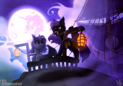 Size: 1300x910 | Tagged: safe, artist:atryl, oc, oc only, bat pony, pony, bat pony oc, bat wings, commission, full moon, lantern, moon, open mouth, ship, wings