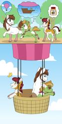 Size: 2000x4000   Tagged: safe, artist:jackiebloom, pipsqueak, oc, oc:cameo cultivar, oc:maria ann smith, earth pony, pony, colt, female, filly, food, honey, hot air balloon, male, offspring, older, parent:apple bloom, parent:pipsqueak, parents:pipbloom