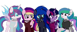 Size: 3500x1466 | Tagged: safe, artist:angelina-pax, oc, oc only, oc:angsty emocore, oc:clausa vera, oc:misanthropy melody, oc:myringa, oc:soprano shadow, alicorn, bat pony, bat pony alicorn, changeling, earth pony, pegasus, pony, unicorn, vampire, alicorn oc, band, bat pony oc, bat wings, changeling oc, chinese, choker, clothes, curved horn, fangs, female, fishnets, flannel, heart, hoodie, horn, horn ring, jewelry, lip piercing, look-alike, markings, messy mane, multicolored hair, necklace, nose piercing, nose ring, not cadance, not celestia, not flurry heart, not luna, not twilight sparkle, piercing, raised hoof, siblings, simple background, sisters, socks, spiked choker, striped socks, tattoo, transparent background, wall of tags, wing piercing, wings, wristband, ych result