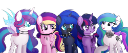 Size: 3500x1466 | Tagged: safe, alternate version, artist:angelina-pax, oc, oc only, oc:angsty emocore, oc:clausa vera, oc:misanthropy melody, oc:myringa, oc:soprano shadow, alicorn, bat pony, bat pony alicorn, changeling, earth pony, pegasus, pony, unicorn, vampire, alicorn oc, band, bat pony oc, bat wings, changeling oc, chinese, choker, clothes, curved horn, fangs, female, heart, horn, horn ring, jewelry, lip piercing, look-alike, markings, messy mane, multicolored hair, necklace, nose piercing, nose ring, not cadance, not celestia, not flurry heart, not luna, not twilight sparkle, piercing, raised hoof, siblings, simple background, sisters, socks, spiked choker, tattoo, transparent background, wall of tags, wing piercing, wings, wristband, ych result