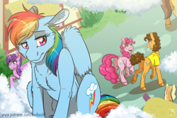 Size: 1772x1181 | Tagged: safe, artist:inuhoshi-to-darkpen, cheese sandwich, pinkie pie, rainbow dash, earth pony, pegasus, pony, unicorn, backwards cutie mark, cheesepie, chest fluff, cloud, cutie mark, female, floppy ears, implied lesbian, implied pinkiedash, implied shipping, lesbian, male, mare, on a cloud, open mouth, pinkiedash, ponyville, regret, sad, shipping, sitting, solo focus, stallion, story in the comments, straight, unrequited