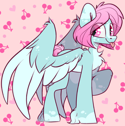 Size: 1352x1359 | Tagged: safe, artist:spoopygander, oc, oc:scoops, pegasus, pony, :p, alternate design, cute, female, freckles, mare, markings, tongue out, wings