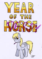 Size: 543x756 | Tagged: safe, artist:rabbi-tom, derpy hooves, pegasus, pony, chinese new year, cutie mark, female, mare, mouth hold, simple background, solo, text, traditional art, white background, wings