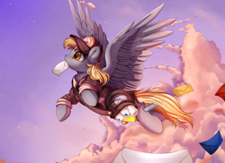 Size: 3509x2550 | Tagged: safe, artist:pridark, derpy hooves, pegasus, pony, bag, clothes, digital art, epic derpy, female, flying, hat, letter, mail, mailbag, mailmare, mailpony, mare, mouth hold, remake, sky, solo, uniform, working
