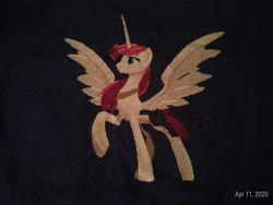 Size: 4160x3120 | Tagged: safe, artist:lionheartcartoon, artist:partsanddrafts, artist:sagegami, oc, oc:fausticorn, alicorn, pony, cross stitch, embroidery, female, photo, solo, tribute, wip