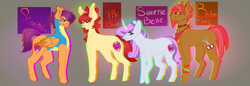Size: 2900x1000 | Tagged: safe, artist:animatorfun, apple bloom, babs seed, scootaloo, sweetie belle, earth pony, pegasus, pony, unicorn, alternate hairstyle, choker, clothes, curved horn, cutie mark crusaders, ear fluff, ear piercing, earring, headcanon in the description, horn, jewelry, neckerchief, older, older apple bloom, older babs seed, older scootaloo, older sweetie belle, one eye closed, piercing, studded choker, two toned wings, uniform, wings, wink, wonderbolt trainee uniform