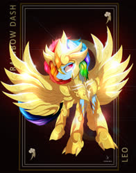 Size: 3928x5000 | Tagged: safe, artist:zidanemina, rainbow dash, pegasus, pony, absurd resolution, anime, armor, crossover, female, leo, mare, redraw, saint seiya, solo