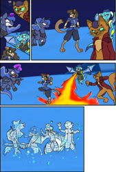 Size: 761x1126 | Tagged: artist needed, source needed, safe, capper dapperpaws, cerena, princess ember, princess luna, oc, abyssinian, alicorn, crystal pony, dragon, pony, code lyoko, comic, crystallized, crystallized pony, death, devirtualization, fight, fire, ice sector, male, wireframe