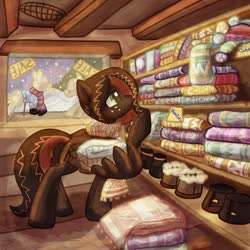 Size: 1024x1024 | Tagged: safe, artist:amura-of-jupiter, oc, oc:netherweave, pegasus, pony, beams, beanie, blanket, boots, brown coat, brown hair, brown mane, cabin, christmas, christmas stocking, clothes, colorful, commission, crochet, freckles, green eyes, hat, holiday, indoors, leather, leather boots, looking right, mannequin, orange mane, overalls, pegasus oc, pegasus wings, pony mannequin, raised hoof, sale, sale sign, scarf, shelf, shirt, shoes, shopkeeper, smiling, snow, snowfall, solo, sticky note, store, sweater, text, window, wing hands, wing hold, wings, winter hat, wooden floor, wool