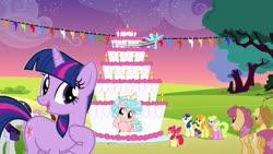 Size: 1273x717 | Tagged: safe, artist:mathewnoris, apple bloom, applejack, bon bon, carrot top, cozy glow, daisy, flower wishes, golden harvest, rainbow dash, rarity, sweetie drops, twilight sparkle, earth pony, pegasus, pony, unicorn, a better ending for cozy, cake, cozybetes, cozylove, cute, food