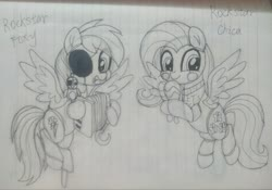 Size: 4045x2832 | Tagged: safe, artist:starflashing twinkle, fluttershy, rainbow dash, bird, parrot, pegasus, pony, robot, robot pony, accordion, canines, cute, cutie mark, dashabetes, eye mask, five nights at freddy's, happy, hook, lined paper, musical instrument, photo, pirate, rockstar chica, rockstar foxy, rockstar foxydash, sand hammer, shyabetes, traditional art, wings