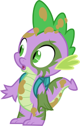 Size: 3000x4684 | Tagged: safe, artist:cloudyglow, spike, the cutie re-mark, alternate timeline, backpack, chrysalis resistance timeline, messy, mud, simple background, solo, transparent background, vector