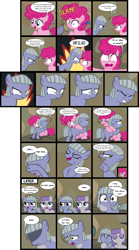 Size: 2208x3966 | Tagged: safe, artist:magerblutooth, limestone pie, maud pie, pinkie pie, earth pony, pony, ..., angry, comic, crying, eyes closed, female, filly, filly limestone pie, filly maud pie, filly pinkie pie, hidden eyes, hug, limetsun pie, tsundere, wavy mouth, younger