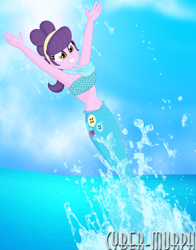 Size: 2616x3336 | Tagged: safe, artist:cyber-murph, suri polomare, mermaid, equestria girls, armpits, arms in the air, bandeau, belly, belly button, breach, cute, hairband, mermaidized, midriff, neckerchief, ponytail, signature, species swap, splash, splashing