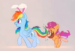 Size: 4096x2805 | Tagged: safe, artist:taneysha, rainbow dash, scootaloo, pegasus, pony, basket, bunny ears, chest fluff, cute, cutealoo, dashabetes, duo, ear fluff, easter, easter basket, easter bunny, easter egg, eyes closed, female, filly, high res, holiday, mare, mouth hold, open mouth, profile, scootalove, siblings, sisters