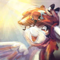Size: 900x900 | Tagged: safe, artist:amura-of-jupiter, oc, oc only, oc:amura, bird, fletchling, pegasus, bird hat, bird on head, colored wings, crossover, crying, eyelashes, female, floppy ears, happy, looking down, looking up, multicolored wings, open mouth, orange eyes, painting, pegasus oc, pokémon, red hair, red mane, sun ray, tears of joy, wings