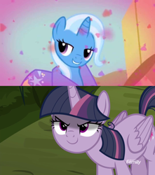 Size: 1280x1448 | Tagged: safe, edit, edited screencap, screencap, mean twilight sparkle, trixie, boast busters, the mean 6, female, lesbian, mean twixie, shipping, shipping domino, twixie