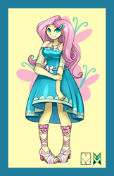 Size: 828x1280 | Tagged: safe, artist:srasomeone, part of a set, fluttershy, butterfly, equestria girls, bow, breasts, busty fluttershy, clothes, cutie mark background, dress, female, geode of fauna, hairclip, hand on arm, latex, looking at you, magical geodes, sandals, shiny, simple background, smiling, solo, waistband, yellow background