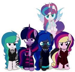 Size: 1782x1721 | Tagged: safe, artist:celestial-rue0w0, artist:elementbases, oc, oc only, oc:angsty emocore, oc:clausa vera, oc:misanthropy melody, oc:myringa, oc:soprano shadow, alicorn, bat pony, bat pony alicorn, changeling, earth pony, pegasus, pony, unicorn, vampire, alicorn oc, band, base used, bat pony oc, bat wings, changeling oc, chinese, choker, clothes, commission, curved horn, fangs, female, fishnets, flannel, flying, heart, hoodie, horn, horn ring, jewelry, lip piercing, look-alike, markings, messy mane, multicolored hair, necklace, nose piercing, nose ring, not cadance, not celestia, not flurry heart, not luna, not twilight sparkle, piercing, raised hoof, raised leg, siblings, simple background, sisters, socks, spiked choker, striped socks, tattoo, transparent background, unamused, wall of tags, wing piercing, wings, wristband