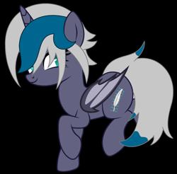 Size: 2173x2142 | Tagged: safe, artist:lazuli0209, artist:rukemon, oc, oc only, oc:elizabat stormfeather, alicorn, bat pony, bat pony alicorn, pony, alicorn oc, base used, bat pony oc, bat wings, commission, female, hair over one eye, horn, mare, raised hoof, raised leg, simple background, solo, transparent background, wings