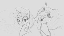 Size: 1471x841 | Tagged: safe, artist:tre, nightmare moon, princess luna, alicorn, pony, bust, duo, duo female, ethereal mane, eyeroll, eyeshadow, fangs, female, floppy ears, frown, gray background, grayscale, helmet, looking at you, luna's crown, makeup, monochrome, simple background, sketch, slit eyes, smiling